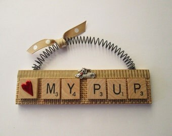 Love My Pup Dog Riding in a Car Scrabble Tile Ornament