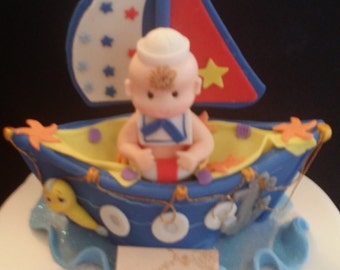 Nautical Baby, Anchor Decoration, Blue Ship Cake Topper, Nautical Centerpiece, Nautical Cake, Nautical First Birthday, Baby Sailor Blue Boat