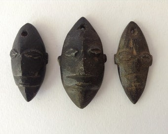 3 African Stone Carved Pendants