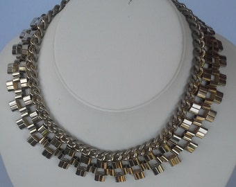 Vintage 1960s silver-tone choker necklace four rows of mixed chain designs