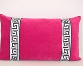 Pink Pillow Cover - Fuchsia Velvet Lumbar Pillow with Greek Key Trim