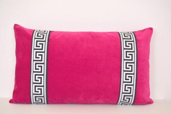 Pink Pillow - Fuchsia Velvet Lumbar Pillow with Greek Key Trim