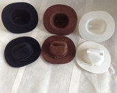 "Western Mini 3"" COWBOY Felt Hats 24  Black, Brown Or White Wedding/Party Decorations Country Fillable Favors  Recuerdos de fiesta"
