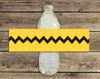 Charlie Brown birthday party water bottle labels printable instant download