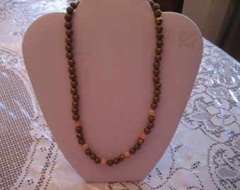 STUNNING BRASS Estate Vintage NECKLACE with Pink Coral Beads