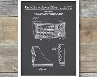 Patent Prints, Vintage Radio Poster, Vintage Radio Patent, Mid Century Radio Print, Vintage Radio Art, Vintage Radio Blueprint P142