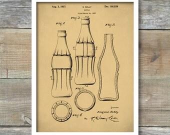 Coca-Cola Bottle Patent, Coke Bottle Poster, Coke Patent Art, Coke Bottle Decor, Coca-Cola Bottle , Coke Bottle Wall Art - P64