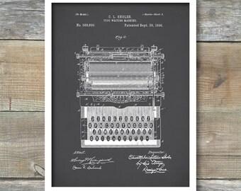 Typewriter Patent Wall Art Print, Patent Art, Typewriter Patent Poster, Typewriter Blueprint, Typewriter Patent Print, P86