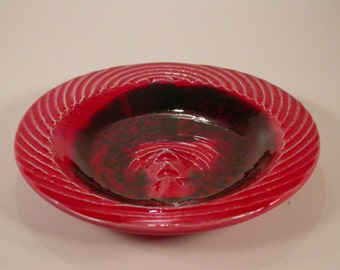 Vintage Lava Red Pottery Ashtray, Marked AD1, Made in USA