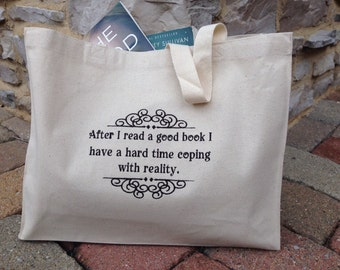 Book Club Tote, Canvas Bag, Embroidered,Personalized