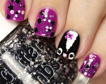Skunk Has Style: Black And Silver Glitter Topper Nail Polish Lacquer- Indie Nail Polish Custom Handmade