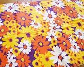 1970s Fabric, Mod Fabric, Daisy Fabric, Yellow Daisy Fabric, Orange Fabric