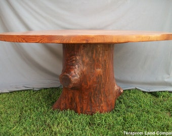 "60"" Oak Tree Stump Pedestal Dining Table"