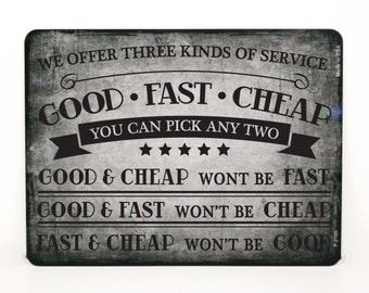 """Work Shop Sign, Quote about Service, Gift for Business Owner, Office Decor Gift for Boss, 9"""" x 12"""" Garage Service Quote Metal Sign Decor"""