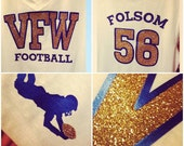 Custom Football Mom on tank or T! *glitter* Front/back design