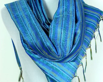 Striped Print Scarf (Ocean Blue)