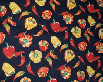 "Peppers ""Alfresco"" Black Red Orange Yellow Fabric by Hoffman"