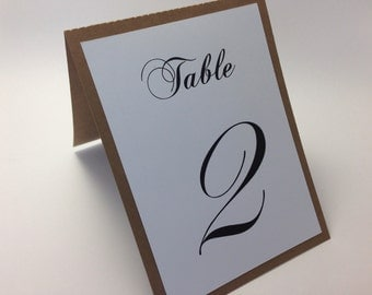 Rustic Wedding Table Numbers.  Tented table number in kraft and White.