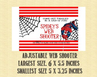 Spiderman Birthday Web Shooter Label for Silly String- ADJUSTABLE SIZE