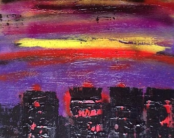 "Painting contemporary acrylic on canvas ""GOTHAM"""