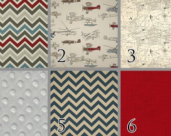 Vintage Airplane. Baby Bedding. Red Blue Chevron Felix Natural Map Transportation Crib Bedding. Air Traffic Bedding. Choose your Design.