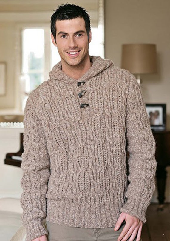 Men's Hand Knit Hoodie Turtleneck Sweater v-neck men