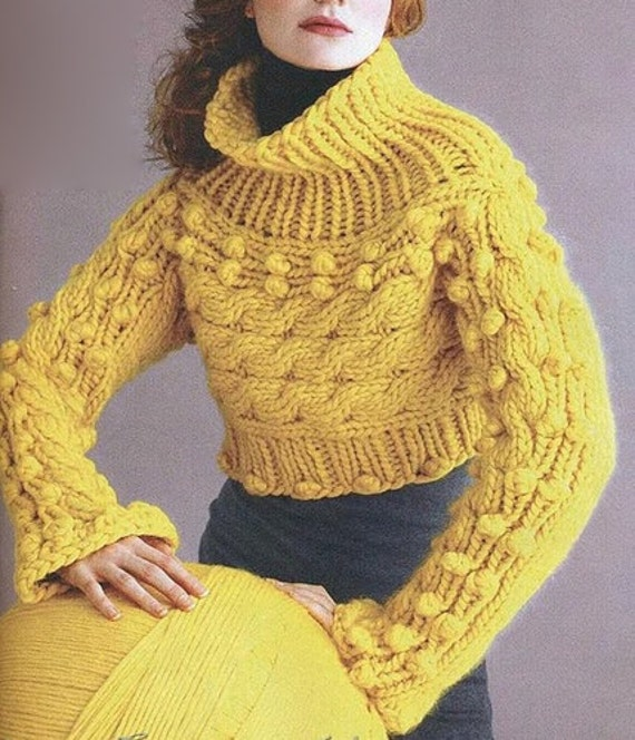 Knitting Patterns Womens Turtleneck Sweaters : Hand Knit Womens turtleneck sweater boat neck hand