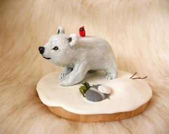 Little Polar Bear and Cardinal Bird on Snowy Base - OOAK