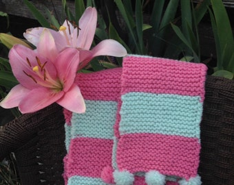 Light Green and Pink Decorative Scarf