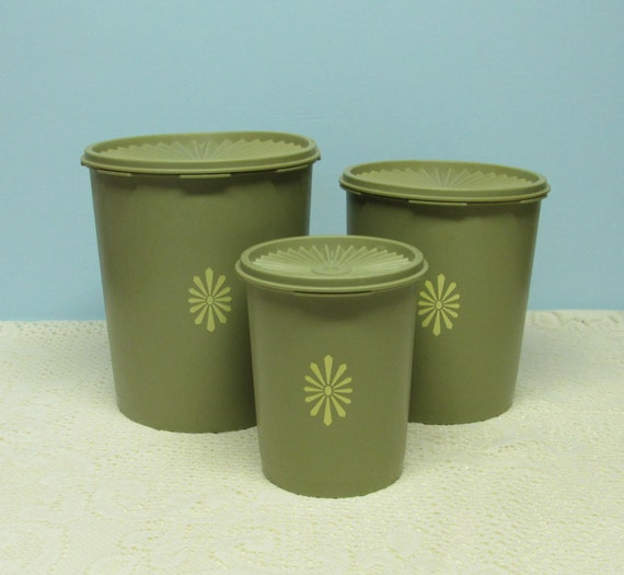 avocado green kitchen canister set vintage 1960 s an etsy clean green kitchen make over holly recommends