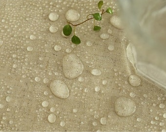 Laminated Linen Fabric Natural By The Yard