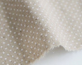 Linen Fabric 2 mm Polka Dot on Natural By The Yard