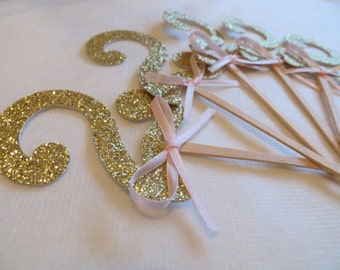 gold number cake toppers, age cake topper, party cake toppers, princess birthday party, custom cake topper, cupcake toppers, glitter 12 pc