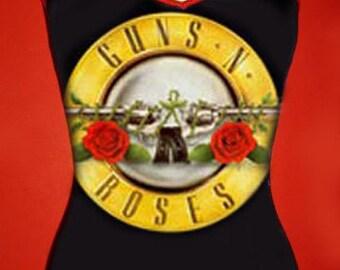 GUNS N ROSES diy x-strap cami tank top 80s heavy metal hard rock band reconstructed  shirt singlet  xs s m l xl