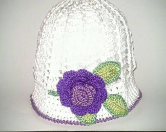 Crocheted Girl's Panama Hat Cloche' Decorated with Handmade Roses, Vining Leaves Various Colors Available