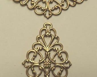 Brass filigree jewel wraps focals connectors 2 pieces