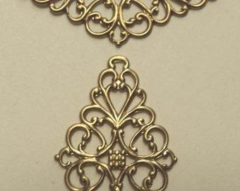Brass filigree jewel wraps focals connectors 2 pieces lot l
