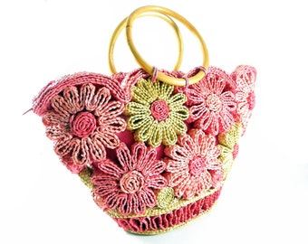 Vintage 1960's Handwoven Straw and Raffia Pink and Yellow Daisy Beach Bag / Summer Tote / Shoulder Bag with Circular Cane Handles