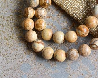 8mm Jasper Beads, Picture Jasper,Landscape Jasper,Soft Brown Jasper Beads,Sand Jasper,Natural Jasper Beads, One Strand, 48 Beads, MAN14-32