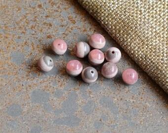 7mm Rhodochrosite Beads, Genuine Rhodochrosite, Soft Pink, Natural Rhodochrosite, Rodochrosite Beads, Rhodocrosite Beads, 6 Beads, SIAM15