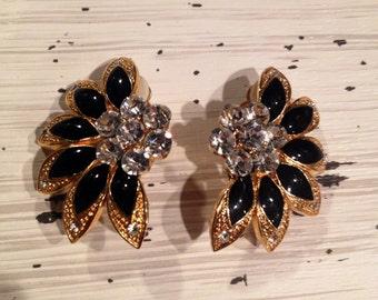 Vintage Earrings, Gold/Black & Rhinestone Vintage Clip-On Earrings