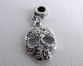 European Bracelet Charm Bead with Dangle, Day of the Dead Sugar Skull, Sold Individually, Halloween, Large Hole, Big Hole Bead, ID 241827928