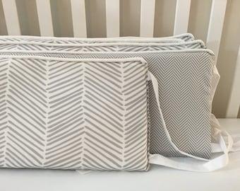 Little Oasis Custom Crib bumper. Neutral Gray & White herringbone crib bumper; coordinating trim.