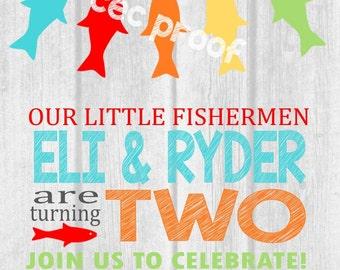 FISHERMEN Birthday Party Invite- Fishing theme party