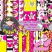 Pink Minnie Mouse-Digital Papers-Background-Digital Clip Art-Patterns-Birthday-Shower-Invitation.