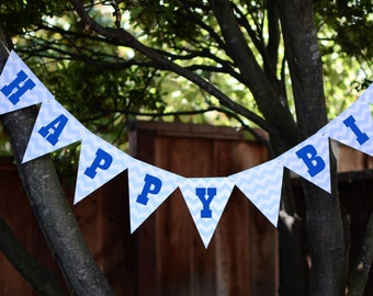 Blue Truck 'Happy Birthday' Banner {Digital Item}
