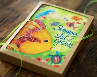 Box Set. 6 Thank You Cards. Mermaid. Greeting Cards. Gratitude. 5x7. Hostess Gift.