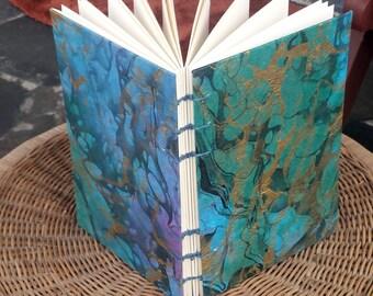 Hand-Bound, Blue Gold Green Purple Marbled, Blank Journal, Sketchbook, 6x9 Inch, Coptic Stitch, Journal
