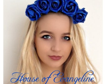 Blue Flower crown/Headband/Hair accessory/Flowers Ref:039