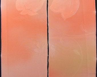 Vintage kimono silk fabric-Peach Amber2596K